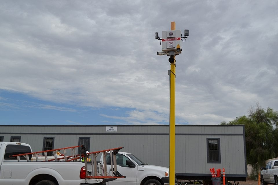 construction site theft prevention camera and alarm set up