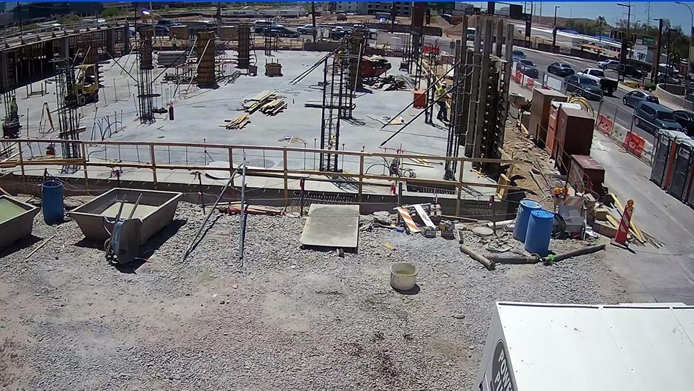 Construction site surveillance camera view.