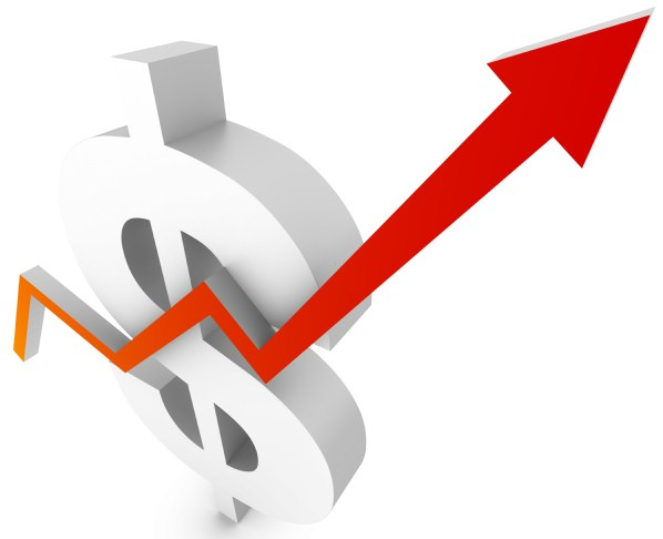 Dollar sign with arrow pointing up to signify rising costs